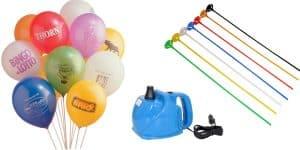 Forskellige balloner med tryk og loger på